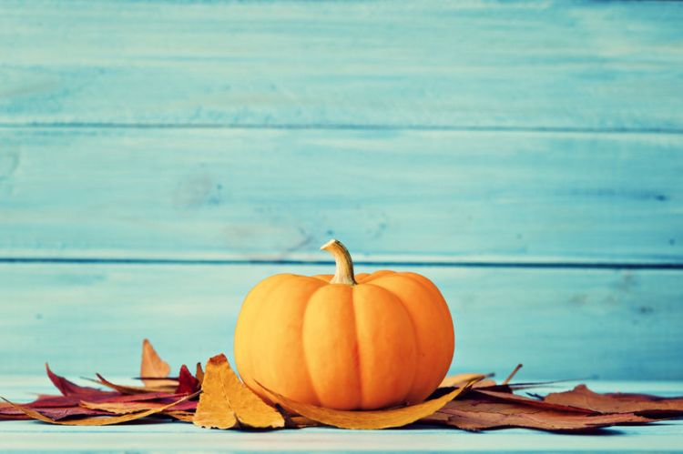 45336634 - pumpkin and autumn leafs over turquoise wood