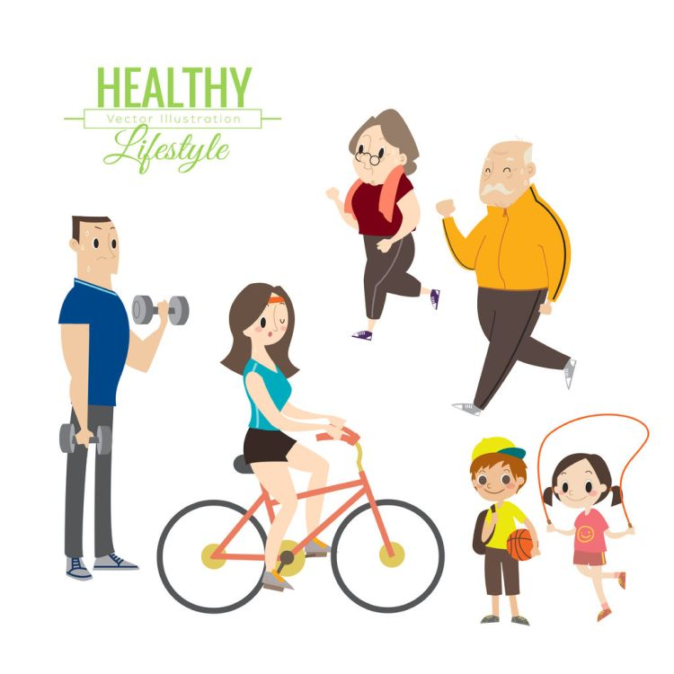 46909432 - healthy lifestyle happy family exercising vector cartoon illustration
