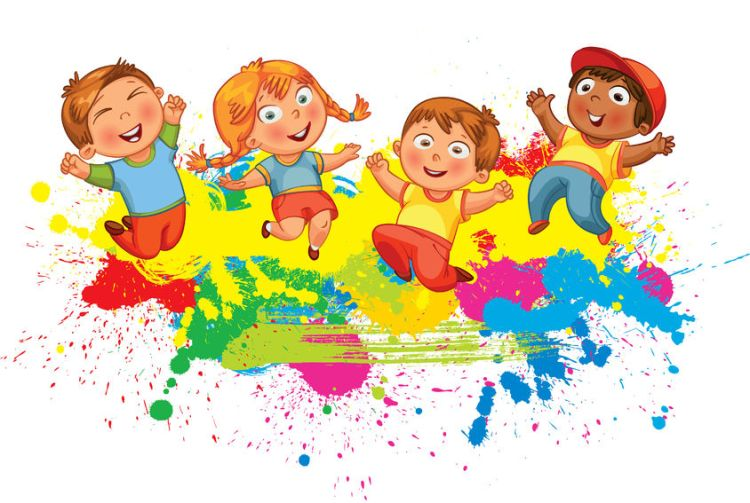 50124734 - children jumping on the background color splash. banner. funny cartoon character. vector illustration. isolated on white background