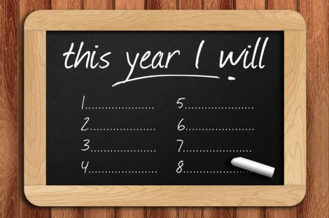 50398346 - chalkboard on the wooden table written this year i will.